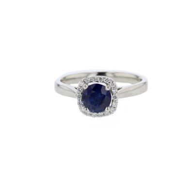 Diamond Rings Round Sapphire Cushion Shaped Cluster