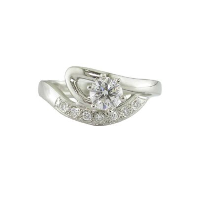 Diamond Rings 0.50ct Platinum Curved Solitaire Ring
