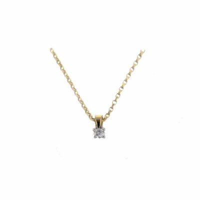 Gold Pendants Solitaire Diamond Pendant, 18ct. Yellow Gold