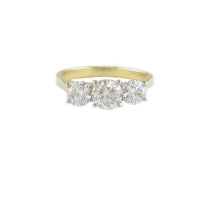 18ct. Yellow Gold Ring, Platinum Setting 3 Diamonds