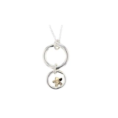 Burren Collection Love Circle Pendant with Yellow Gold Burren Flower