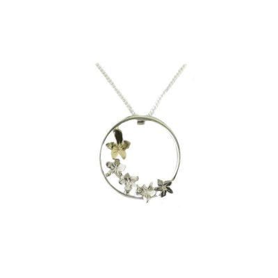 Burren Collection Sterling Silver Burren Pendant with 9ct. Gold Flower