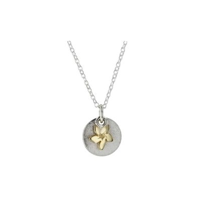 Burren Collection Sterling Silver Burren Pendant with Gold Flower