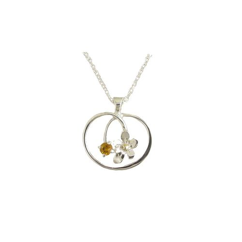 Burren Collection Sterling Silver Pendant Burren Flower with Gold Bead and Set with Citrine Stone