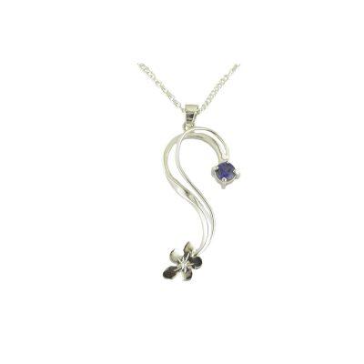 Burren Collection Sterling Silver Burren Flower Pendant set with Sapphire