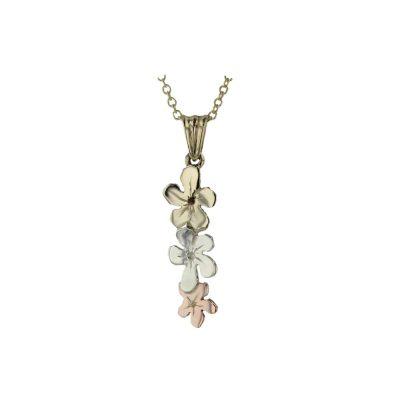 Burren Collection Trilian Style 9ct. Gold Flower Pendant