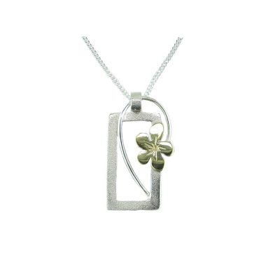 Burren Collection Silver Rectangular Pendant with Yellow Gold Burren Flower