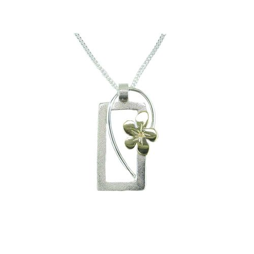 Burren Silver Pendants Silver Rectangular Pendant with Yellow Gold Burren Flower