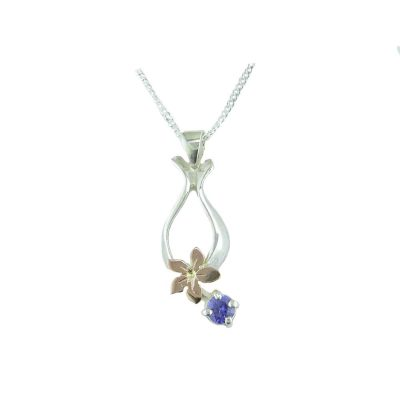 Burren Collection Silver Burren Pendant with Red Gold Gentian Flower and Iolite Stone