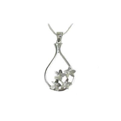 Burren Collection Silver Burren Flower Pendant with 4 Flowers