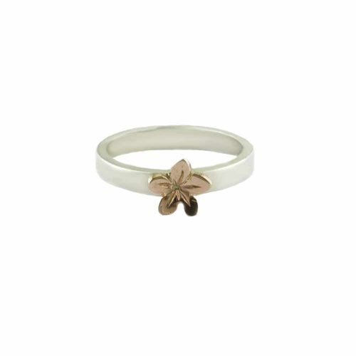Burren Collection Sterling Silver Burren Flower Ring with Red Gold Flower