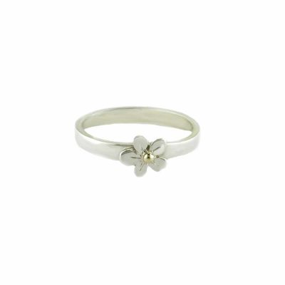 Burren Collection Sterling Silver Burren Flower Ring with Gold Bead
