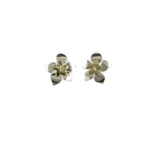 Burren Collection Sterling Silver Burren Earrings with 9ct. Gold Centre Flower