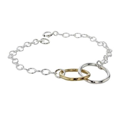 Bracelets Sterling Silver and Rose Gold Double Circle Bracelet