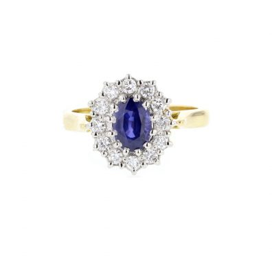 18ct. Yellow Gold Sapphire Diamond Ring