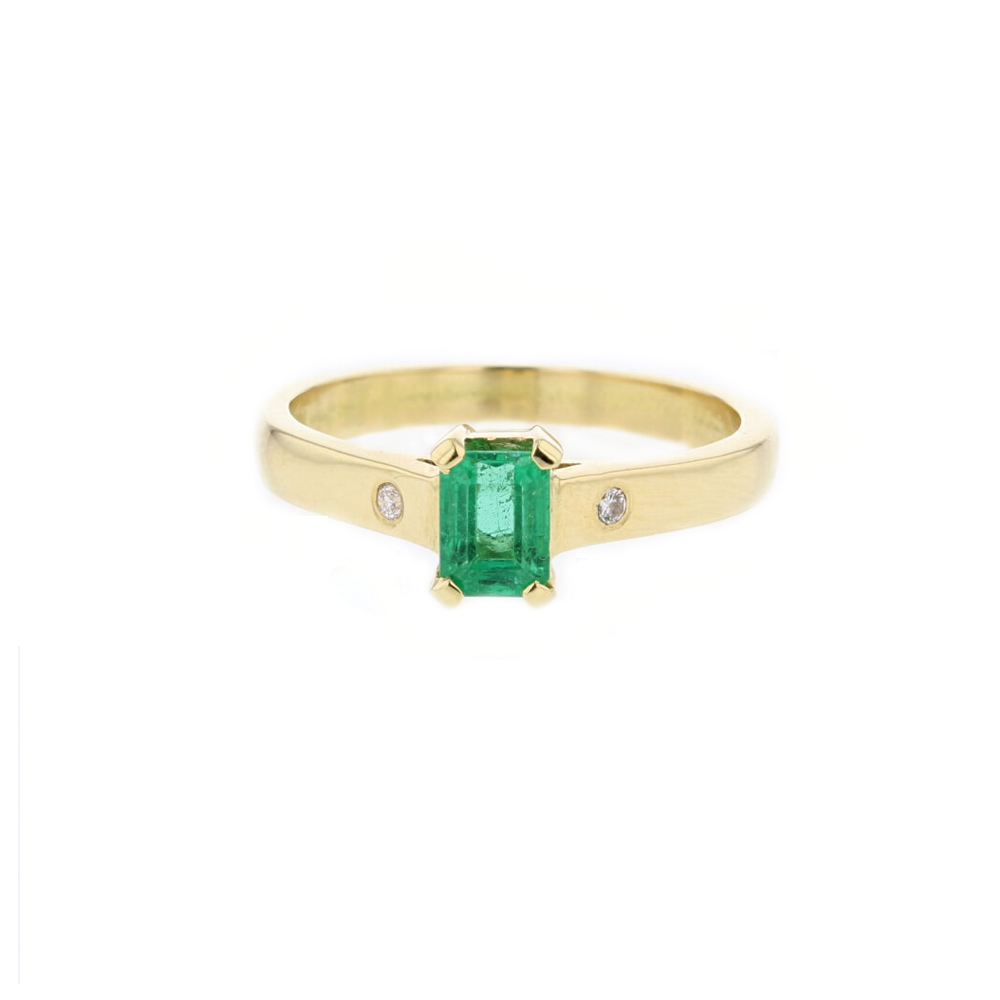 18ct. Yellow Gold Ring, Emerald Cut Emerald