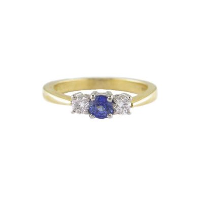 Diamond Rings 18ct. Yellow Gold Ring with Sapphire and Diamond