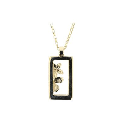 Burren Collection 9ct. Yellow Gold Burren Flower Rectangle Pendant