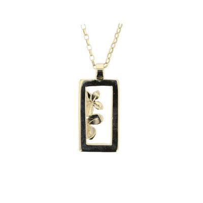 Burren Collection 9ct. Yellow Gold Burren Flower Rectangle Pendant