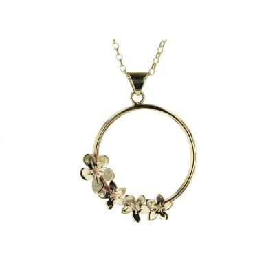 Burren Collection 9ct Gold Burren Pendant with 4 Gold Burren Flowers