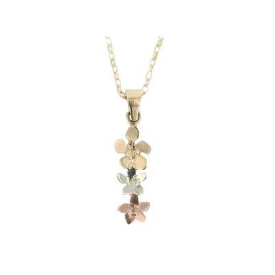 Trilian Style 9ct. Gold Flower Pendant