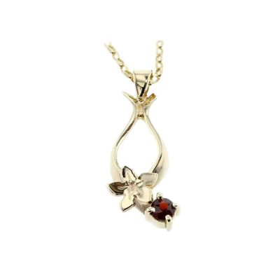 Burren Collection 9ct. Gold Pendant, with Burren Flower & Claw Set Garnet