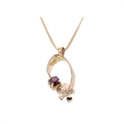 Burren Collection 9ct. Red Gold Pendant with Red Gold Burren Flower
