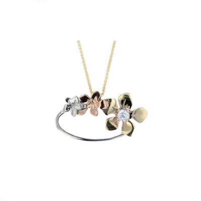 Burren Collection Yellow, White & Rose Gold, Burren Flower Pendant