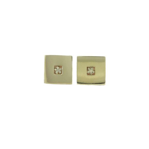 Burren Collection Square 9ct. Yellow Gold Burren Flower Earrings