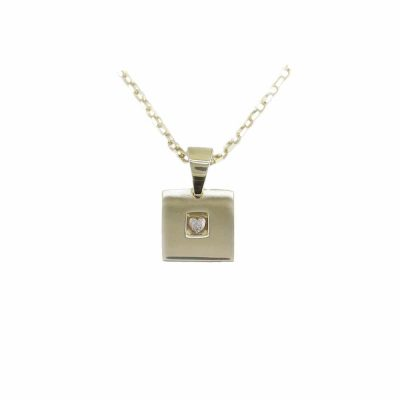Gold Pendants 9ct. Yellow Gold Square Pendant with Textured Centre Heart