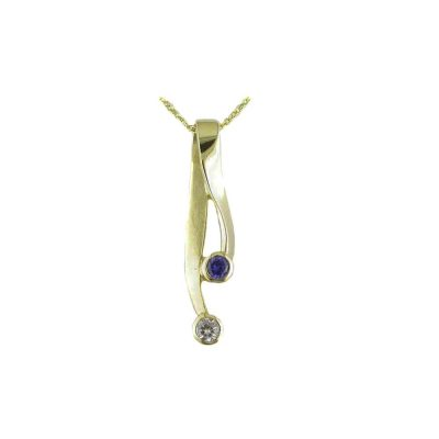 Gold Pendants 9ct. Yellow Gold Pendant with Bezel Set Iolite and CZ