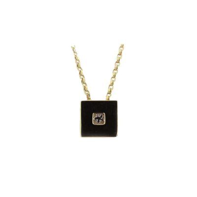 Burren Collection Square 9ct. Gold Pendant with Mini White Gold Burren Flower