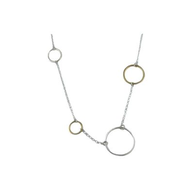 Jewellery Sterling Silver Pendant with Rose Plated and Sterling Silver Circles