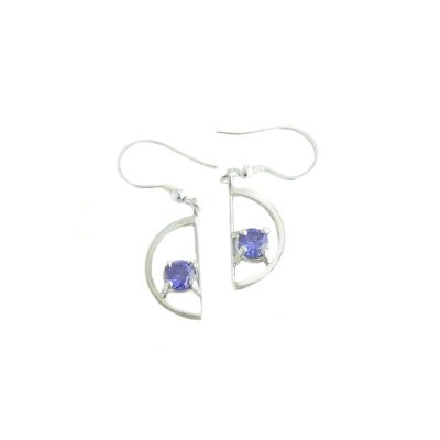Earrings Sterling Silver Half Circular Earrings with Synthetic Tanzanite