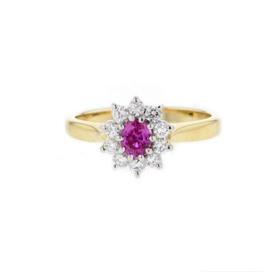 Dress Rings 18ct. Yellow Gold Pink Sapphire Diamond Cluster Ring