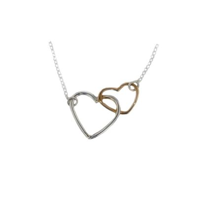 Jewellery Double Heart Pendant, Rose Gold & Silver