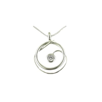 Jewellery Handmade Spiral Pendant Set with CZ