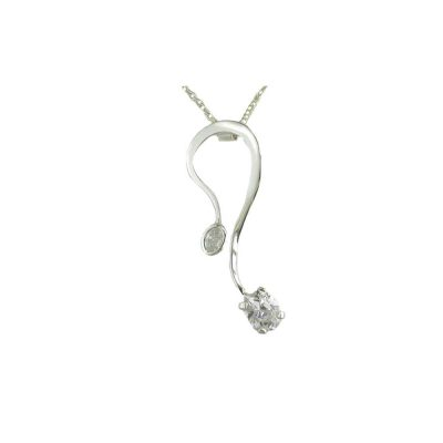 Jewellery Sterling Silver Pendant Set with 2 CZ Stones