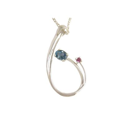Jewellery Sterling Silver Pendant with London Blue Topaz and Rhodolite Garnet