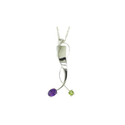 Jewellery Sterling Silver Oval Amethyst and Peridot