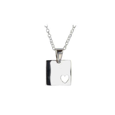 Jewellery Silver Square Pendant with Carved Out Heart