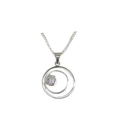 Jewellery Sterling Silver Circle of Life Pendant with Clear Zircon