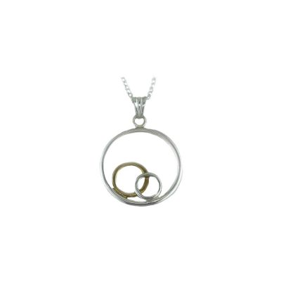 Jewellery Sterling Silver and Rose Gold Plated Circular Pendant
