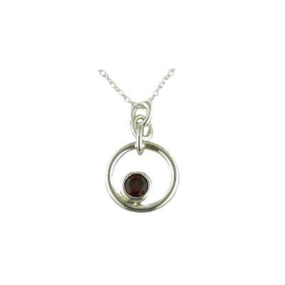 Jewellery Handmade Silver Circular Pendant with Garnet