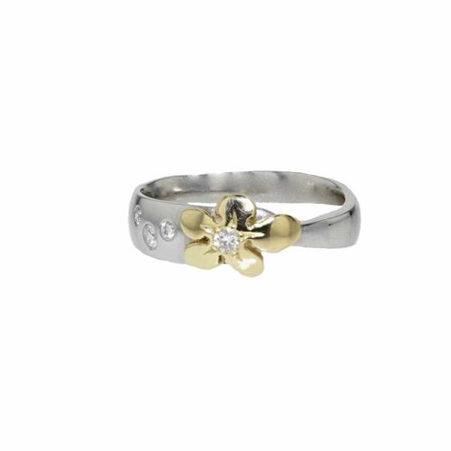 Burren Collection Platinum, Diamond and Yellow Gold Burren Flower Ring