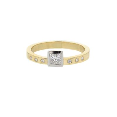 Dress Rings 18ct. Yellow Gold Ring, Bezel Set Princess Cut Diamond