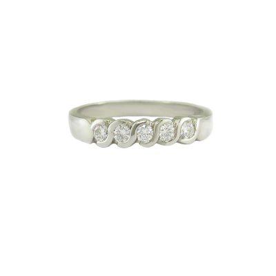 Diamond Rings Platinum Eternity Ring Set with 5 Diamonds