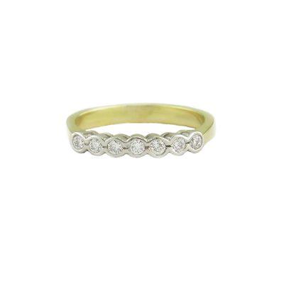 Diamond Rings 18ct. Yellow Gold Eternity Ring Set with 7 Diamonds in Platinum