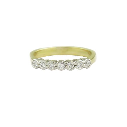 Diamond Rings 18ct. Yellow Gold Eternity Ring Set with 7 Diamonds in Platinum