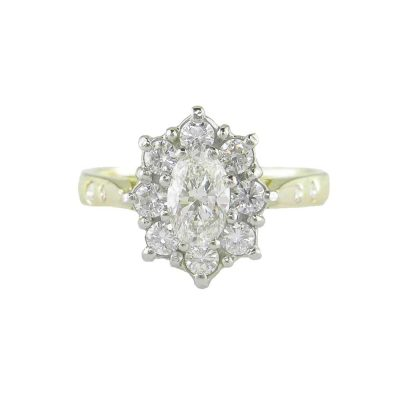 Diamond Rings 18ct. Gold Oval Cluster Ring